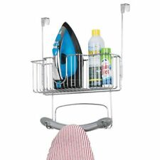 mDesign Over Door Hanging Ironing Board Holder, Large Storage Basket - Chrome