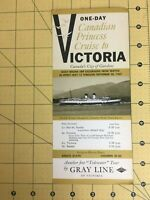 Vintage Travel Brochure One Day Canadian Princess Cruise to Victoria Gray Line