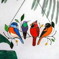 Multicolor Birds on a Wire High-Stained Glass Suncatcher Window Panel Decor New