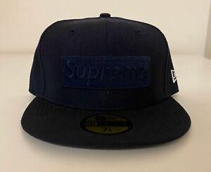 Supreme New Era Tonal Box Logo F/W 2014 Fitted Hat 7 1/4 Cap Navy Blue NEW!!!