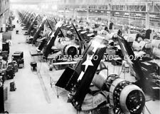 NICE REPRO 8X10 PHOTOGRAPH OF F4U CORSAIR FIGHTER PLANES ASSEMBLY LINE WW11