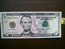 $ 5 bill 2013 with 4 consecutive 4's in the serial number lightly used