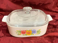 Vintage Corning Ware Summer Blush 2L Casserole A2B With Glass Lid A9C