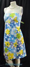 Nine West floral dress stretch cotton sundress tie back retro mod tie SZ 8 M NEW