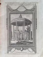 TEMPLE JAPONAIS PRÊTRE CÉLÈBRE MATRIMONIO CÉRÉMONIE acquaforte 1784 MILLAR