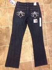 lee slender secret stretch denim bootcut jeans embellished pockets retail $54