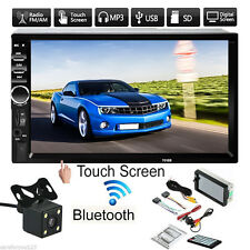7'' HD Touch Screen 2Din Car Radio MP5 MP3 FM AUX Player Bluetooth USB w/ Camara