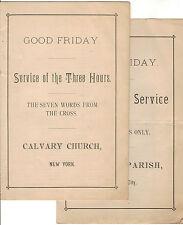 2 Antique 1880s CALVARY CHURCH PARISH NEW YORK NYC Good Friday Service Pamphlets