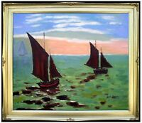 Framed Claude Monet Boats Leaving Harbor Hand Painted Oil Painting Repro 20x24in
