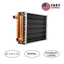 """Water to Air Heat Exchanger 16x16' Panel Fin 1"""" Copper Ports Hot Water Radiator"""