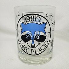 Vintage 1980 Lake Placid XIII Olympics Winter Games Clear Lowball Glass Raccoons