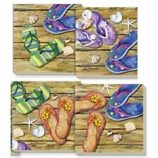 Flip Flops Square Stone Coasters - Set of 4 Assorted - 14945