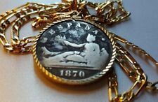 "Authentic 1870 Espana Silver 2 Pesetas Pendant on a 24"" 18KGF Gold Filled Chain"