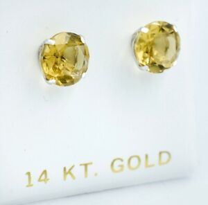 GENUINE 5.30 Ct YELLOW TOPAZ EARRINGS 14K WHITE GOLD *Free Certificate Appraisal