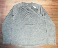Fila Sport Fitted Athletic Long Sleeve Henley Shirt Mens Medium Gray Heathered
