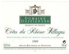 Etiquette de vin - COTES DU RHONE VILLAGES - Domaine Duseigneur - 1999