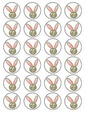 X24 Dibujos Animados Conejo cara Cup Cake Toppers Decoración a comestibles Papel De Arroz