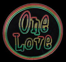 ONE LOVE PEACE REGGAE RASTA JAMAICA BELT BUCKLE BELTS BUCKLES