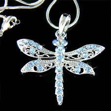 Blue w Swarovski Crystal DRAGONFLY Jewelry Charm Pendant Bridal Wedding Necklace