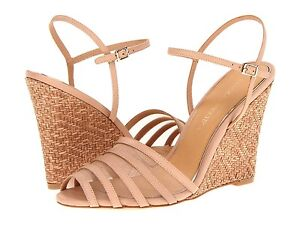 NIB Badgley Mischka Colina basket weave wedge sandals Natural vachetta shoes 10