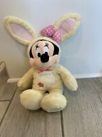 "Disney Store Exclusive Patch Minnie Mouse 14"" Yellow Bunny Easter Rabbit Plush"