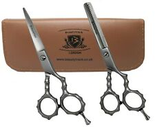 Silver Barber Hair Cutting Thinning Shears Set Professional Hairdressing Scissor