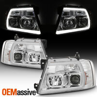 Fits 2004-2008 Ford F150 Pickup Chrome Full LED DRL Tube Projector Headlights