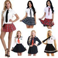 FEESHOW Women Naughty School Uniform Cosplay Costume Tie Top Shirt with Pleated Skirt Set