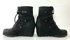 Sorel Women's size 8 8.5 39 PDX Lexie Black Wedge Lea Joan Arctic Ankle Boot
