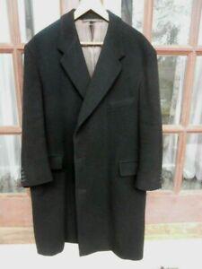 Vintage Mens Overcoat CROMBIE of ABERDEEN Wool Black Size S-M Winter Coat