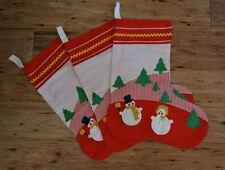Vintage Christmas Stockings Snowman Theme Set Of 3