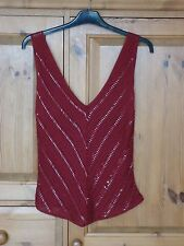 Ladies Burgundy Sleeveless Crochet Disco Party Top With Beads & Sequins Size 12