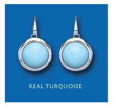Turquoise Drop Earrings Sterling Silver Round Natural Turquoise Drops