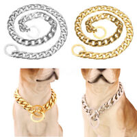 14-26'' Gold Silver Dog Choke Chain Collar Stainless Steel Curb Lin Pet  UK
