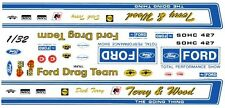 Official FORD Drag Team Torino 1970 1/32nd Scale Slot Car Waterslide Decals
