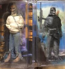 Set of 2 IRON MAIDEN EDDIE RETRO CLOTHED Neca Figure Piece Of Mind 2 Minutes lp
