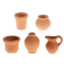 1/12 Mixed Dollhouse Miniature Ceramic Crocks Flowerpot Pitcher Light Brown