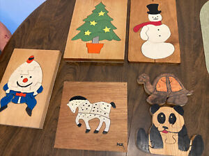6 VINTAGE Wooden CHILDREN'S PUZZLES, Homemade Folk Art Americana Humpty Dumpty
