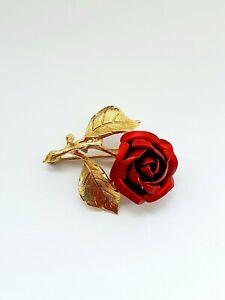 Vintage Rose Brooch Gold Tone Jewellery