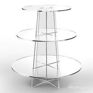Displaypro 3 Tier Acrylic Cupcake Display Stand Cup Cake Party Holder - Round