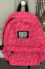 Women Teen Girls Superdry Montana Bright Pink White Large Rucksack Backpack NWT