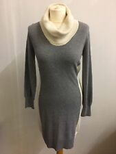 Oasis Ladies Grey Knit Sweater Dress Size Medium Cream Cowl Neck And Side Panels