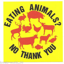 """10 paper sticker """"EATING ANIMALS NO THANK YOU"""" - VEGAN, Animal rights"""