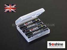4x 10440 AAA 350mAh Li-Ion 3.7v Soshine Rechargeable Batteries + free case UK