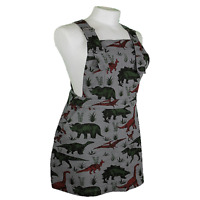 RUN & FLY Grey Twill Dinosaur Print Pinafore Dungaree DRESS  Sizes 8 - 16