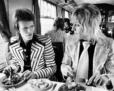 David Bowie Mick Ronson Candid Train BW 10x8 Photo