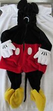 EUC DISNEY STORE MICKEY MOUSE 1 PC HOODED HALLOWEEN DRESS-UP COSTUME 6-12 MO