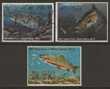 USA 2000-2002 INDIANA Trout & Salmon Fishing Revenue Stamp #51-53 Signed