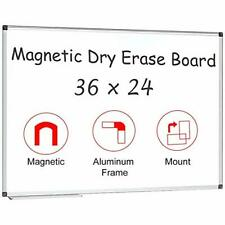Magnetic White Board 36 X 24 Dry Erase Board Wall Mounted 36x24 Silver Aluminum