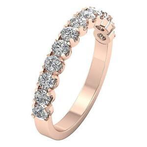 Natural Diamond SI1 G 1.05 Ct Anniversary Wedding Rind Band Prong Set Rose Gold